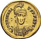 Photo numismatique  ARCHIVES VENTE 2017-6 oct - Coll Dr Y. Goalard EMPIRE ROMAIN HONORIUS (393-423)  315-. Solidus, Constantinople, (397/402).