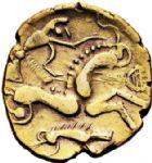 Photo numismatique  ARCHIVES VENTE 2017-6 oct - Coll Dr Y. Goalard GAULE - CELTES AULERQUES EBUROVICES (région d'Evreux)  328- Hémistatère d'or au sanglier, (Iie siècle avant J.C. - Guerre des Gaules).