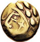 Photo numismatique  VENTE 6 oct 2017 - Coll Dr Y. Goalard et divers GAULE - CELTES CARNUTES (région de Chartres)  333- Hémistatère d'or à la croix, (vers 60-25).