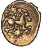 Photo numismatique  ARCHIVES VENTE 2017-6 oct - Coll Dr Y. Goalard IBERIE- GAULE - CELTES OUEST DU BELGIUM BELLOVAQUES et AMBIANI 338- Quart de statère d'or à l'astre, (vers 60-25).
