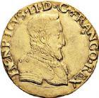 Photo numismatique  ARCHIVES VENTE 2017-6 oct - Coll Dr Y. Goalard ROYALES FRANCAISES HENRI II (31 mars 1547-10 juillet 1559)  350- Double Henri d'or, Rouen, ?1551 B.