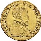 Photo numismatique  VENTE 6 oct 2017 - Coll Dr Y. Goalard et divers ROYALES FRANCAISES HENRI II (31 mars 1547-10 juillet 1559)  351- Double Henri d'or, La Rochelle, 1558 H.