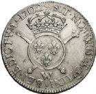 Photo numismatique  VENTE 6 oct 2017 - Coll Dr Y. Goalard et divers ROYALES FRANCAISES LOUIS XIV (14 mai 1643-1er septembre 1715)  359- Écu aux insignes avec buste du type aux palmes, Lille, 1702 W.