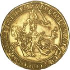 Photo numismatique  ARCHIVES VENTE 2017-6 oct - Coll Dr Y. Goalard BARONNIALES Comté de FLANDRE LOUIS de MÂLE (1346-1384) 374- Franc d'or ou Cavalier, Gand 1361-1364.