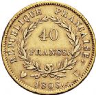 Photo numismatique  ARCHIVES VENTE 2017-6 oct - Coll Dr Y. Goalard MODERNES FRANÇAISES NAPOLEON Ier, empereur (18 mai 1804- 6 avril 1814)  376- 40 francs or, Turin 1808 U.