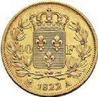 Photo numismatique  VENTE 6 oct 2017 - Coll Dr Y. Goalard et divers MODERNES FRANÇAISES LOUIS XVIII, 2e restauration (8 juillet 1815-16 septembre 1824)  377- 40 francs or, Paris 1822 A.