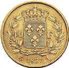 Photo numismatique  VENTE 6 oct 2017 - Coll Dr Y. Goalard et divers MODERNES FRANÇAISES CHARLES X (16 septembre 1824-2 août 1830)  378- 40 francs or, Paris 1827 A.