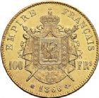 Photo numismatique  VENTE 6 oct 2017 - Coll Dr Y. Goalard et divers MODERNES FRANÇAISES NAPOLEON III, empereur (2 décembre 1852-1er septembre 1870)  380- 100 francs or, Strasbourg 1866 BB.