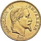 Photo numismatique  ARCHIVES VENTE 2017-6 oct - Coll Dr Y. Goalard MODERNES FRANÇAISES NAPOLEON III, empereur (2 décembre 1852-1er septembre 1870)  381- 100 francs or, Strasbourg 1868 BB.
