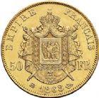 Photo numismatique  VENTE 6 oct 2017 - Coll Dr Y. Goalard et divers MODERNES FRANÇAISES NAPOLEON III, empereur (2 décembre 1852-1er septembre 1870)  382- 50 francs or, Strasbourg 1868 BB.