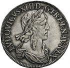 Photo numismatique  ARCHIVES VENTE 9 mars 2018 - Coll. Dr P. Corre ROYALES FRANCAISES LOUIS XIII (16 mai 1610-14 mai 1643)  57- Écu d'argent de 60 sols à la mèche épaisse, 1erpoinçon, 2ème type de Warin, Paris 1642.
