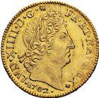 Photo numismatique  ARCHIVES VENTE 9 mars 2018 - Coll. Dr P. Corre ROYALES FRANCAISES LOUIS XIV (14 mai 1643-1er septembre 1715)  63- Louis d'or aux huit L et aux insignes, Lille 1702.