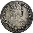 Photo numismatique  ARCHIVES VENTE 9 mars 2018 - Coll. Dr P. Corre ROYALES FRANCAISES LOUIS XIV (14 mai 1643-1er septembre 1715)  66- Écu de Navarre à la mèche longue, Saint-Palais 1653.