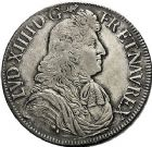 Photo numismatique  ARCHIVES VENTE 9 mars 2018 - Coll. Dr P. Corre ROYALES FRANCAISES LOUIS XIV (14 mai 1643-1er septembre 1715)  69- Écu à la cravate, dit «  du Parlement  », 1er type, 2ème émission, Aix 1679.