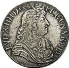 Photo numismatique  ARCHIVES VENTE 9 mars 2018 - Coll. Dr P. Corre ROYALES FRANCAISES LOUIS XIV (14 mai 1643-1er septembre 1715)  70- Écu de Béarn à la cravate, Pau 1686.
