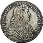 Photo numismatique  VENTE 9 mars 2018 - Coll. Dr P. Corre et divers ROYALES FRANCAISES LOUIS XIV (14 mai 1643-1er septembre 1715)  70- Écu de Béarn à la cravate, Pau 1686.