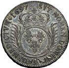Photo numismatique  ARCHIVES VENTE 9 mars 2018 - Coll. Dr P. Corre ROYALES FRANCAISES LOUIS XIV (14 mai 1643-1er septembre 1715)  74- Écu aux palmes, Paris 1697.