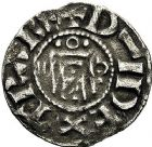 Photo numismatique  ARCHIVES VENTE 9 mars 2018 - Coll. Dr P. Corre BARONNIALES Vicomté d'ORLEANS Au nom d'HUGUES (vers 1010-1025) 113-  Denier au nom d'Hugues.