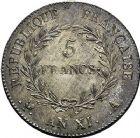 Photo numismatique  ARCHIVES VENTE 9 mars 2018 - Coll. Dr P. Corre MODERNES FRANÇAISES LE CONSULAT (à partir du 24 décembre 1799-18 mai 1804) Bonaparte 1er Consul 271- 5 francs, Paris an XI.