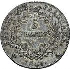 Photo numismatique  ARCHIVES VENTE 9 mars 2018 - Coll. Dr P. Corre MODERNES FRANÇAISES NAPOLEON Ier, empereur (18 mai 1804- 6 avril 1814)  273- 5 francs, Paris an 12.
