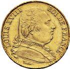 Photo numismatique  ARCHIVES VENTE 9 mars 2018 - Coll. Dr P. Corre MODERNES FRANÇAISES LOUIS XVIII, 1ère restauration (3 mai 1814-20 mars 1815)  276- 20 francs, Perpignan 1815.