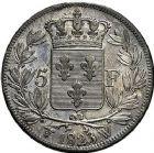 Photo numismatique  ARCHIVES VENTE 9 mars 2018 - Coll. Dr P. Corre MODERNES FRANÇAISES LOUIS XVIII, 2e restauration (8 juillet 1815-16 septembre 1824)  282- 5 francs, Lille 1823.
