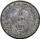 Photo numismatique  ARCHIVES VENTE 9 mars 2018 - Coll. Dr P. Corre MODERNES FRANÇAISES LOUIS-PHILIPPE Ier (9 août 1830-24 février 1848)  286- 5 francs, Lille 1831.