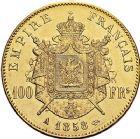 Photo numismatique  ARCHIVES VENTE 9 mars 2018 - Coll. Dr P. Corre MODERNES FRANÇAISES NAPOLEON III, empereur (2 décembre 1852-1er septembre 1870)  292- 100 francs or, Paris 1858.