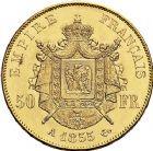 Photo numismatique  ARCHIVES VENTE 9 mars 2018 - Coll. Dr P. Corre MODERNES FRANÇAISES NAPOLEON III, empereur (2 décembre 1852-1er septembre 1870)  293- 50 francs or, Paris 1855.