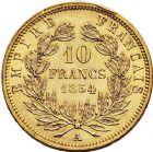Photo numismatique  ARCHIVES VENTE 9 mars 2018 - Coll. Dr P. Corre MODERNES FRANÇAISES NAPOLEON III, empereur (2 décembre 1852-1er septembre 1870)  294- 10 francs or, Paris 1854 petit module.