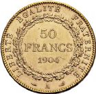 Photo numismatique  ARCHIVES VENTE 9 mars 2018 - Coll. Dr P. Corre MODERNES FRANÇAISES 3ème REPUBLIQUE (4 septembre 1870-10 juillet 1940)  301- 50 francs or, Paris 1904.