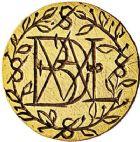 Photo numismatique  ARCHIVES VENTE 9 mars 2018 - Coll. Dr P. Corre JETONS et MÉDAILLES RARES (XVIe-XVIIe). Famille LABADIE (Ile-de-France).   305- Denier d'or à épouser gravé.