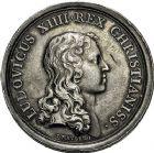 Photo numismatique  VENTE 9 mars 2018 - Coll. Dr P. Corre et divers JETONS et MEDAILLES RARES LOUIS XIV (14 mai 1643-1er septembre 1715) Sacré à Reims, le 7 juin 1654 313- Médaille en argent du sacre à Reims, datée du 7juin 1654, par J. Mauger.