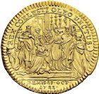 Photo numismatique  ARCHIVES VENTE 9 mars 2018 - Coll. Dr P. Corre JETONS et MÉDAILLES RARES LOUIS XV (1er septembre 1715-10 mai 1774) Sacré à Reims, le 25 octobre 1722 317-  Jeton en or.