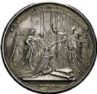 Photo numismatique  ARCHIVES VENTE 9 mars 2018 - Coll. Dr P. Corre JETONS et MÉDAILLES RARES LOUIS XV (1er septembre 1715-10 mai 1774) Sacré à Reims, le 25 octobre 1722 318- Médaille en argent par Jean Duvivier.