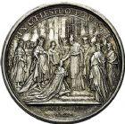 Photo numismatique  ARCHIVES VENTE 9 mars 2018 - Coll. Dr P. Corre JETONS et MÉDAILLES RARES LOUIS XV (1er septembre 1715-10 mai 1774) Sacré à Reims, le 25 octobre 1722 319- Médaille en argent par Jean Duvivier et Jean Le Blanc.