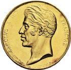 Photo numismatique  ARCHIVES VENTE 9 mars 2018 - Coll. Dr P. Corre JETONS et MÉDAILLES RARES CHARLES X (1824-1830) Sacré à Reims, le 29 mai 1825 327- Médaille en or de 35 mm, par Gayrard.