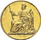 Photo numismatique  VENTE 9 mars 2018 - Coll. Dr P. Corre et divers JETONS et MEDAILLES RARES CHARLES X (1824-1830) Sacré à Reims, le 29 mai 1825 327- Médaille en or de 35 mm, par Gayrard.