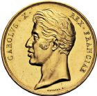 Photo numismatique  VENTE 9 mars 2018 - Coll. Dr P. Corre et divers JETONS et MEDAILLES RARES CHARLES X (1824-1830) Sacré à Reims, le 29 mai 1825 328- Médaille en or de 41mm par Raymond Gayrard.
