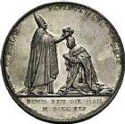 Photo numismatique  ARCHIVES VENTE 9 mars 2018 - Coll. Dr P. Corre JETONS et MÉDAILLES RARES CHARLES X (1824-1830) Sacré à Reims, le 29 mai 1825 330- Médailles en argent (2) de 51 et 41mm, par Raymond Gayrard.