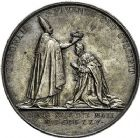 Photo numismatique  VENTE 9 mars 2018 - Coll. Dr P. Corre et divers JETONS et MEDAILLES RARES CHARLES X (1824-1830) Sacré à Reims, le 29 mai 1825 331- Médailles en argent (2) de 41 et 35mm, par Raymond Gayrard.