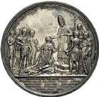 Photo numismatique  ARCHIVES VENTE 9 mars 2018 - Coll. Dr P. Corre JETONS et MÉDAILLES RARES CHARLES X (1824-1830) Sacré à Reims, le 29 mai 1825 332- Médaille en argent de 51mm, par Jean-Edouard Gatteaux et Alexis-Josph Depaulis.