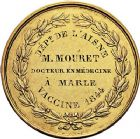 Photo numismatique  VENTE 9 mars 2018 - Coll. Dr P. Corre et divers JETONS et MEDAILLES RARES LOUIS-PHILIPPE Ier (1830-1848)  334- Médaille en or de la Vaccine, attribuée au DrMouret vétérinaire à Marle (Aisne), 1844 par Alexis-Joseph Depaulis.