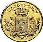 Photo numismatique  ARCHIVES VENTE 9 mars 2018 - Coll. Dr P. Corre JETONS et MÉDAILLES RARES 3ème RÉPUBLIQUE (1871-1940)  339- Médaille en or de la Ville d'Épernay (Marne), offerte par Mrs Chandon.