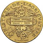 Photo numismatique  ARCHIVES VENTE 9 mars 2018 - Coll. Dr P. Corre JETONS et MÉDAILLES RARES 3ème RÉPUBLIQUE (1871-1940)  340- Médaille en or du comice agricole et viticole de Sens (Yonne), 1891.