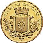 Photo numismatique  ARCHIVES VENTE 9 mars 2018 - Coll. Dr P. Corre JETONS et MÉDAILLES RARES 3ème RÉPUBLIQUE (1871-1940)  341- Médaille en or de la Société d'horticulture et de petite culture de Soissons (Aisne).