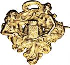 Photo numismatique  ARCHIVES VENTE 9 mars 2018 - Coll. Dr P. Corre JETONS et MÉDAILLES RARES 3ème RÉPUBLIQUE (1871-1940)  346- Insigne uniface en or de la Société de tir de Reims (Marne), 1908, par Charles-Gustave Marey.