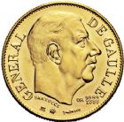Photo numismatique  VENTE 9 mars 2018 - Coll. Dr P. Corre et divers JETONS et MEDAILLES RARES 5ème RÉPUBLIQUE (Depuis le 4 octobre 1958)  348- Médaille en or du module de 20 francs, Charles de Gaulle, 1980, par Santucci.