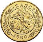 Photo numismatique  ARCHIVES VENTE 9 mars 2018 - Coll. Dr P. Corre JETONS et MÉDAILLES RARES 5ème RÉPUBLIQUE (Depuis le 4 octobre 1958)  348- Médaille en or du module de 20 francs, Charles de Gaulle, 1980, par Santucci.