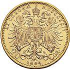 Photo numismatique  ARCHIVES VENTE 9 mars 2018 - Coll. Dr P. Corre MONNAIES DU MONDE AUTRICHE FRANCOIS-JOSEPH (1848-1916) 351- 20 couronnes or, 1894.